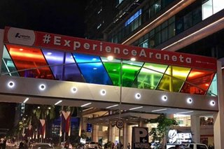 Araneta Center celebrates Pride month with rainbow colored skywalk, pedestrian lane