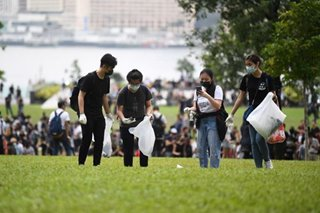 IN PHOTOS: Hong Kong residents clean up amid protests