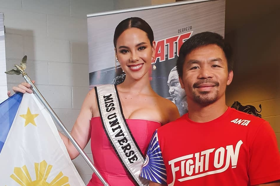 Catriona Gray raises PH flag at Pacquiao fight