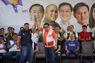JV, Jinggoy raise each other's hands at campaign kickoff
