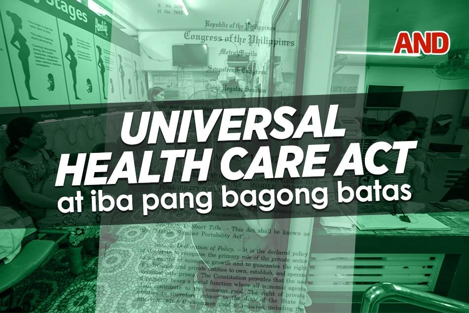 Universal Health Care Act at iba pang bagong batas