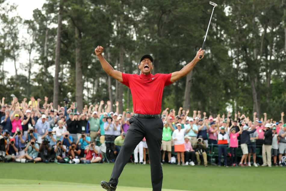 0588df8c3dd38 Tiger Woods celebrates on the 18th hole to win the 2019 Masters. Lucy  Nicholson