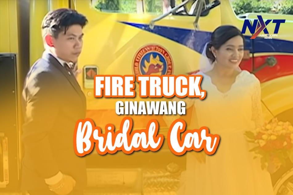 Fire truck, ginawang bridal car