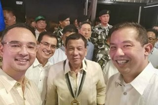LOOK: Cayetano, Romualdez take selfie with Duterte amid Speaker race