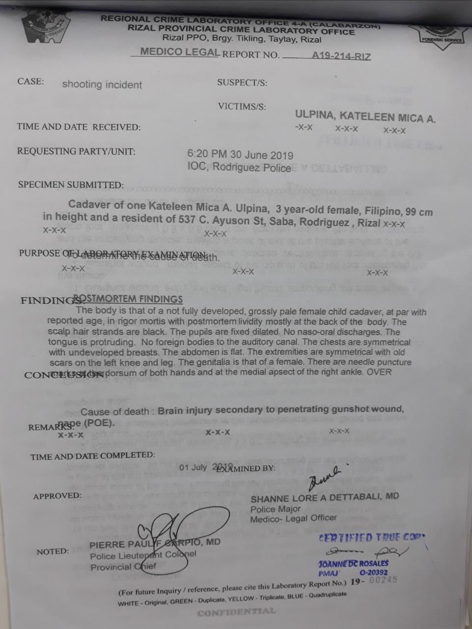 PNP: Gunshot wound pierced brain of 3-year-old killed in Rizal police op 1