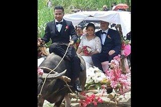 LOOK: Iloilo woman, Danish husband ride carroza in hometown wedding