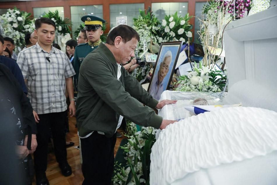 Duterte pays tribute to Sen. Nene Pimentel