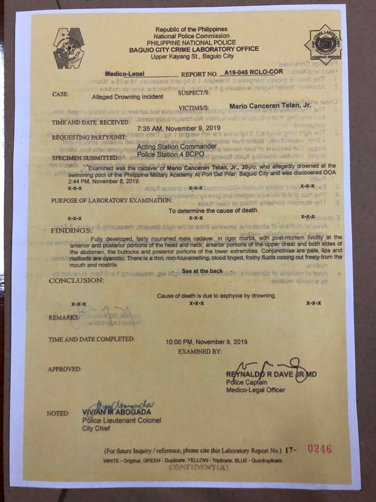 PMA cadet Telan drowned: police autopsy report 1