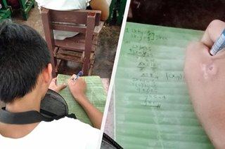 VIRAL: Estudyanteng sa dahon nagsusulat ng notes sa klase