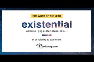 'Existential' is Dictionary's 2019 Word of the Year