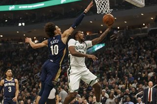 NBA: Bucks whip Pelicans without star, win 16th straight