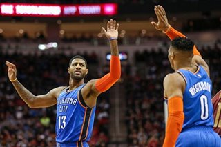 WATCH: Westbrook, George set triple-double record for OKC