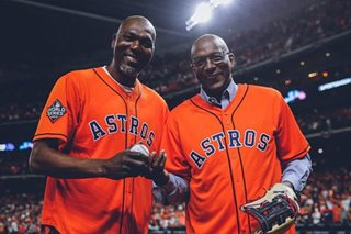 Astros turn to NBA legends Olajuwon, Drexler for luck