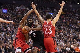 NBA: Despite blow to head, Harden leads Rockets past Raptors
