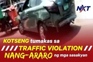 Kotseng tumakas sa traffic violation, nang-araro ng mga sasakyan