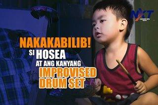 Nakakabilib! Si Hosea at ang kanyang improvised drum set