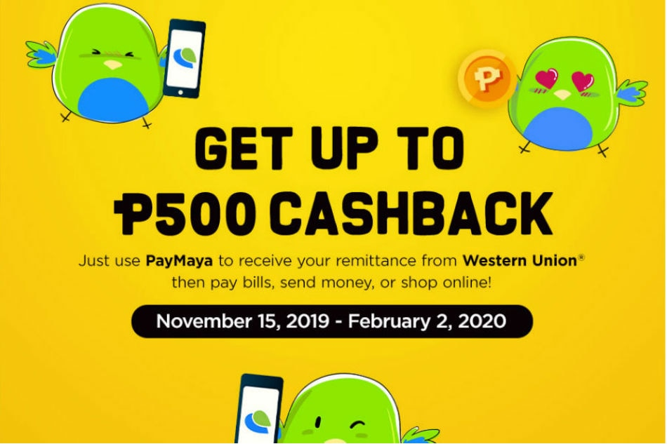 Earn up to P1,500 cashback when you receive your Western Union remittance with PayMaya