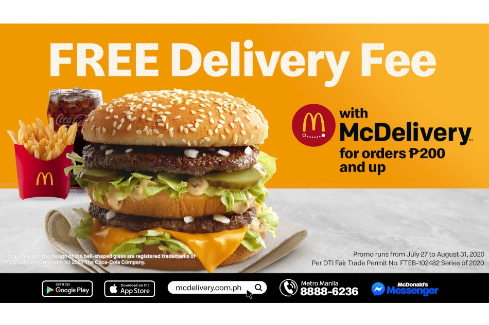 McDonald's PH offers free delivery fee
