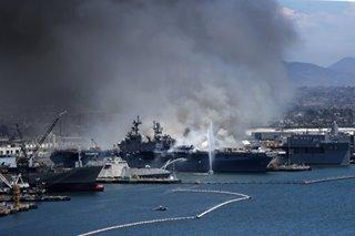 Fire hits USS Bonhomme Richard in Naval Base San Diego