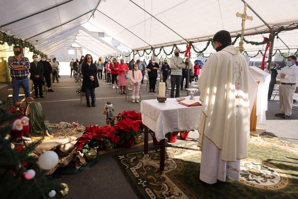 Celebrating Christmas Mass outdoors