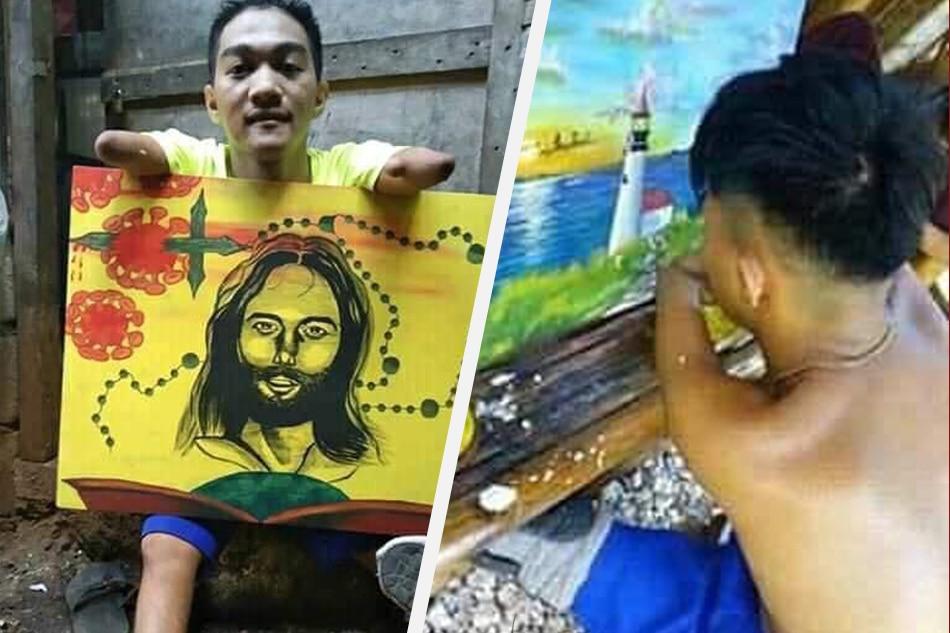 21 anyos na putol ang kamay, binti nagpinta para sa tatay na maysakit 1