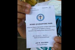 Quarantine pass policy ipinatupad sa barangay sa CamSur