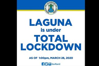 Laguna placed under 'total lockdown': governor