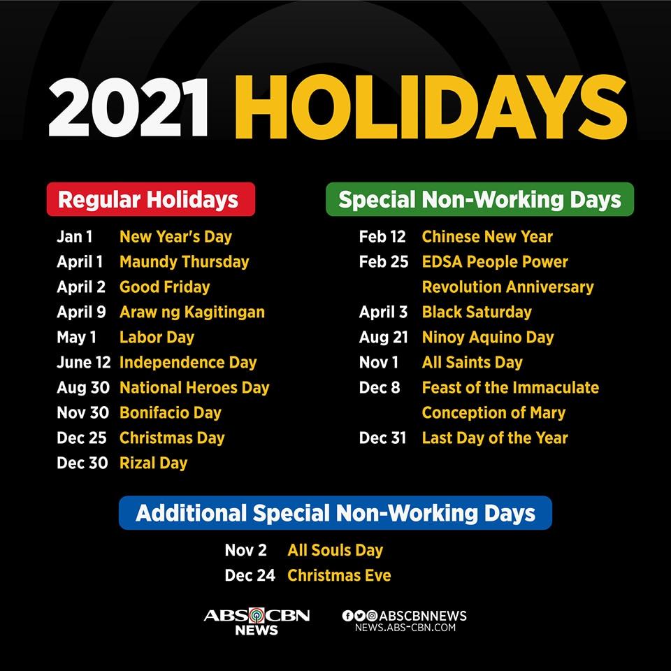 Malacañang announces 2021 holidays | ABS-CBN News