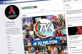 Facebook page ng TV Patrol, lampas 10 million na ang followers