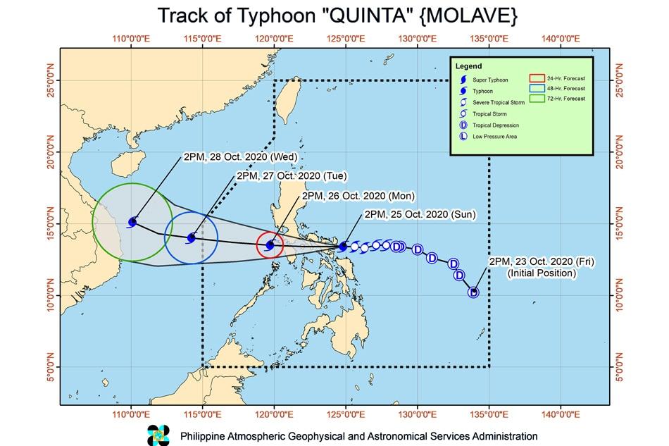 Quinta intensifies into typhoon as it barrels towards Albay, Camsur