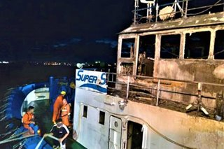 Vessel catches fire off Cebu City, 2 crew members suffer burns