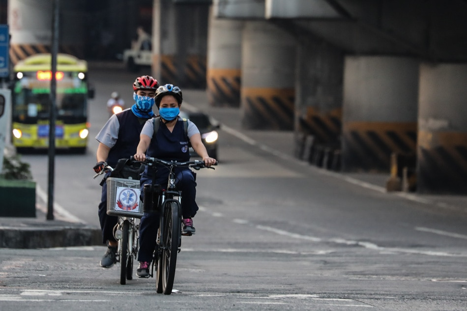 Health workers bike to work