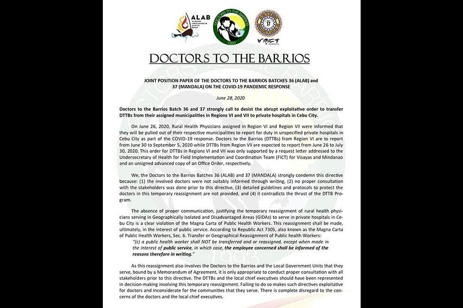 Volunteer barrio doctors oppose transfer order to private hospitals in Cebu City 2