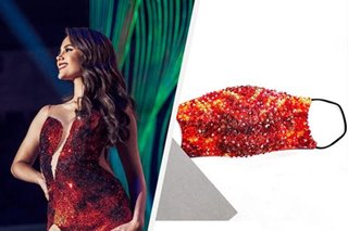 Inspired by Catriona Gray's 'lava' gown, this beaded face mask is worth P25,000