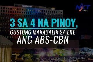 3 sa 4 na Pinoy, gustong maibalik sa ere ang ABS-CBN
