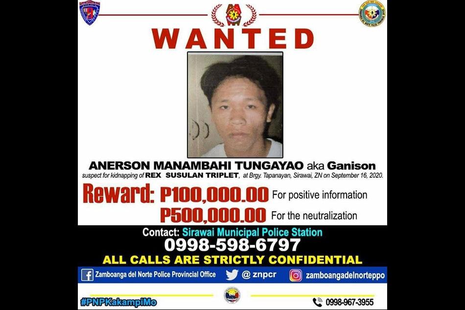 P500,000 reward up for Zamboanga del Norte kidnapping suspect 1