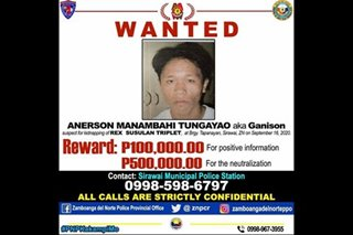 P500,000 reward up for Zamboanga del Norte kidnapping suspect