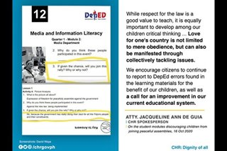 CHR hits alleged DepEd module discouraging protests