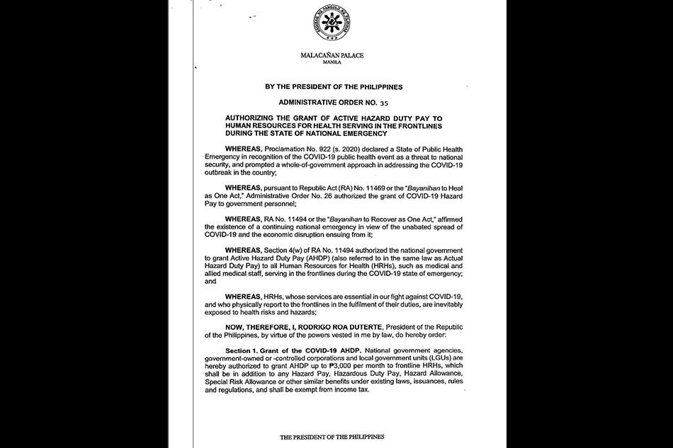 Duterte OKs additional pay for health frontliners braving pandemic 2