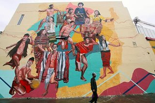Baguio artist celebrates Cordilleran culture in 40-meter high mural