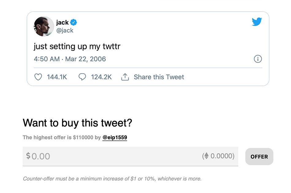 Jack Dorsey Auctions First Ever Tweet as Digital Memorabilia