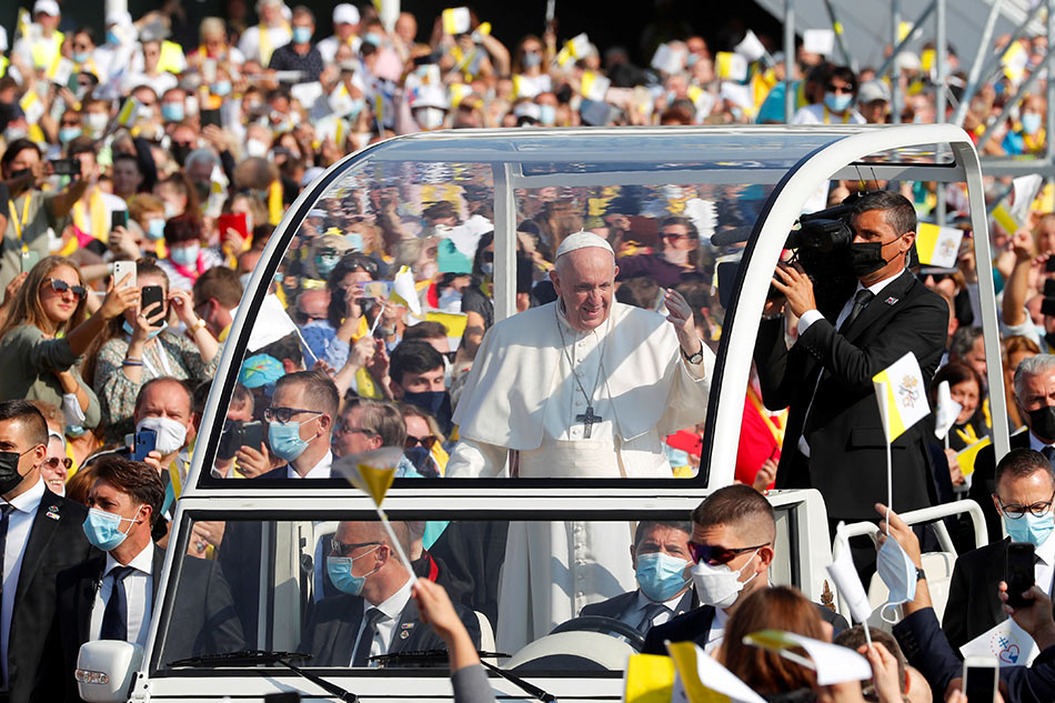 Pope Francis arrives to lead the Liturgy of Saint John Chrysostom in Presov, Slovakia, September 14, 2021. Remo Casilli, Reuters