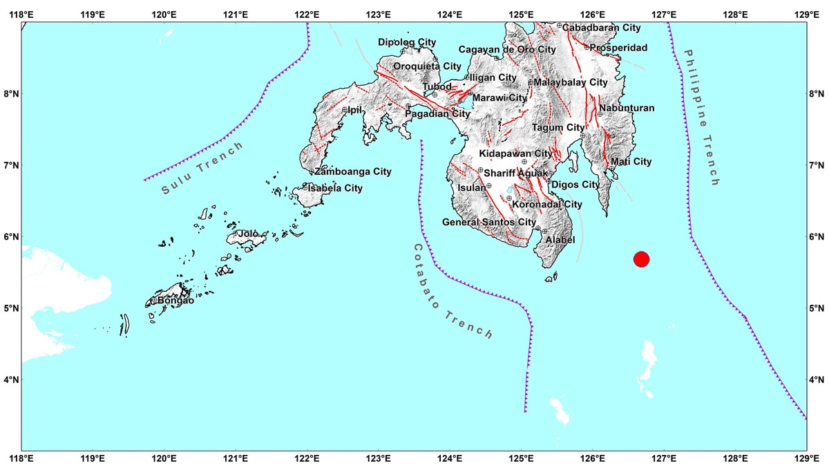 Magnitude-5.1 quake strikes off Davao Occidental; aftershocks possible 1