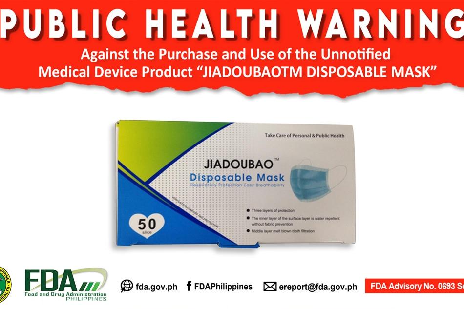 FDA warns public against buying 'Jiadoubao' face masks 1