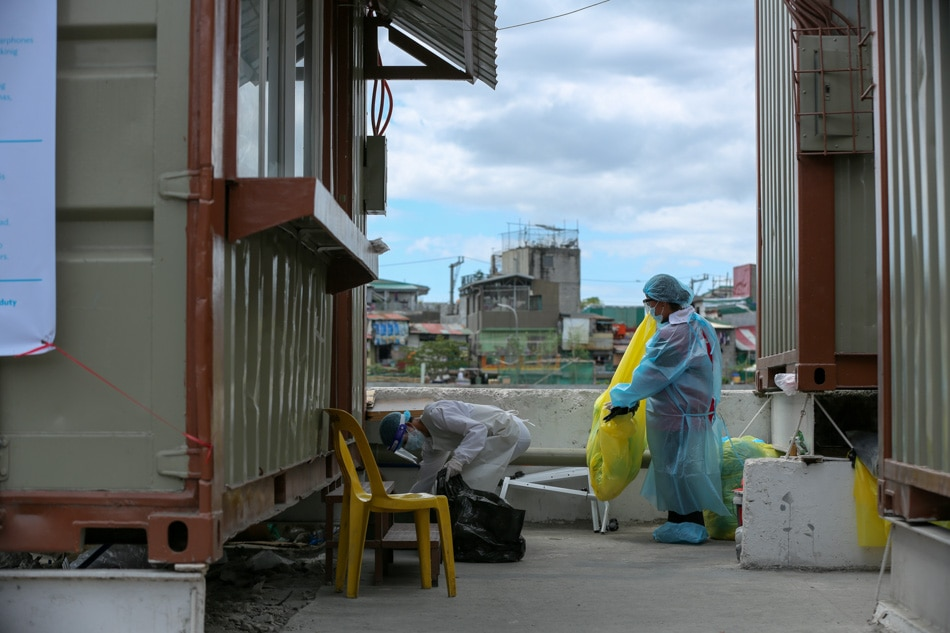 Disinfecting a quarantine facility in Navotas