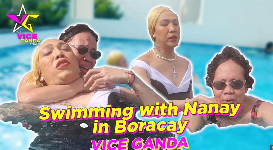 Sinubukang turuan ni Vice Ganda si Nanay Rosario na lumangoy habang nasa Boracay.