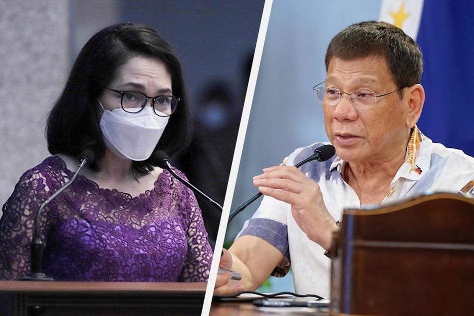 Sen. Risa Hontiveros and President Rodrigo Duterte