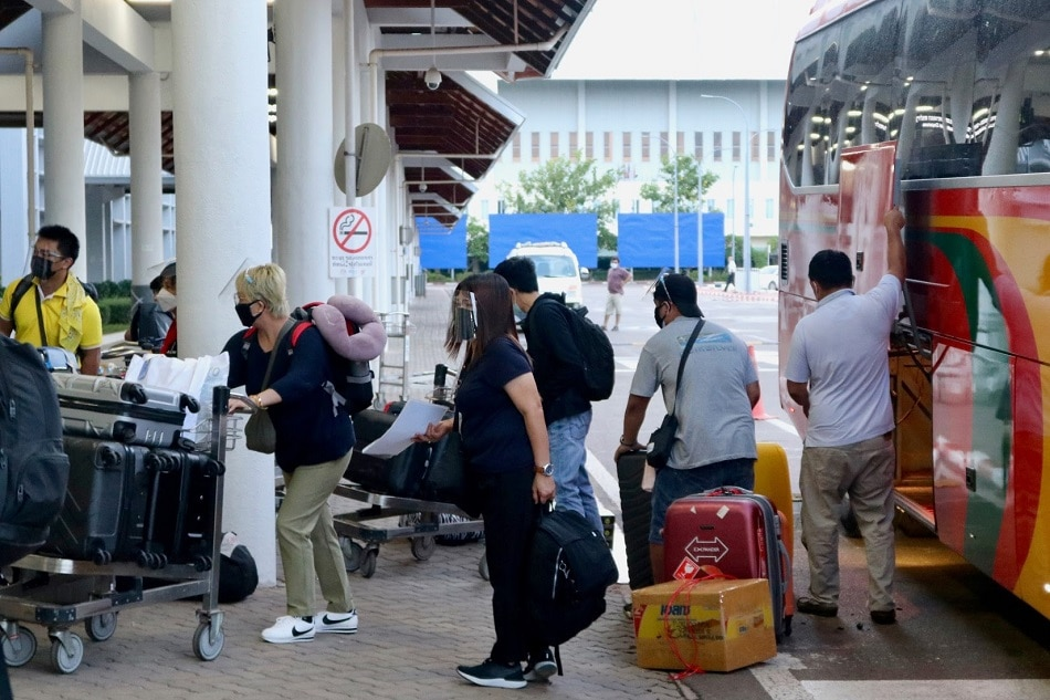 Filipino repatriates prepared to board a flight at the Wattay International Airport in Vientiane, Laos. Courtesy of the Philippine embassy in Vientiane
