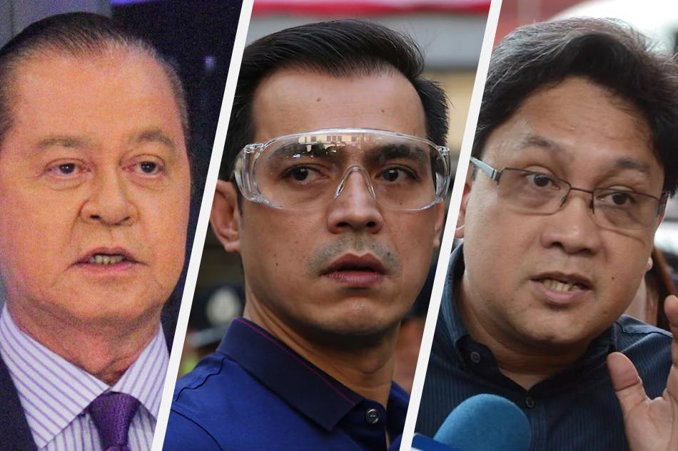 Broadcaster Noli de Castro, Manila Mayor Isko Moreno Domagoso, and long-time public official Cesar Chaves. ABS-CBN News/File