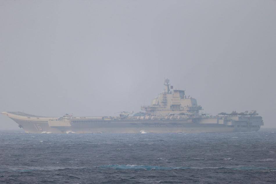 Chinese aircraft carrier Liaoning sails through Miyako Strait